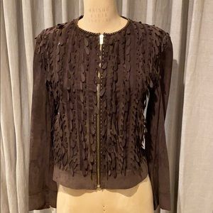 Authentic Fendi chocolate brown suede jacket